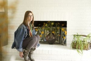 sitting on the flip fireplace